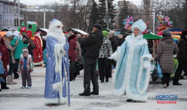 Снегурочка и Дед Мороз предлагают с ними фотографироваться.