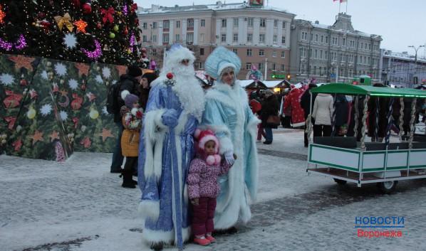 Дед Мороз и Снегурочка фотографируются с малышами.