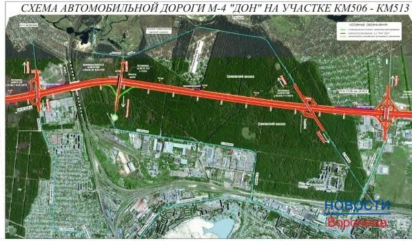 Схема обхода Воронежа в районе