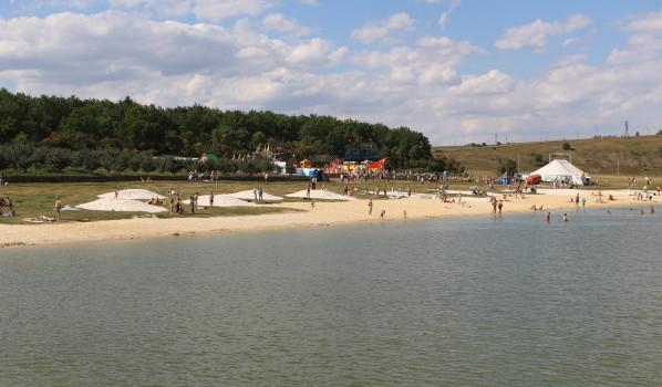 Гости парка купаются в пруду.