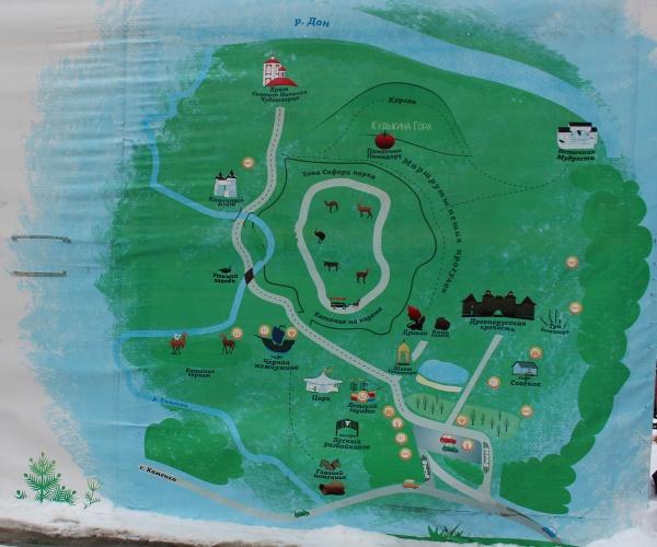 Схема расположения объектов на Кудыкиной горе.