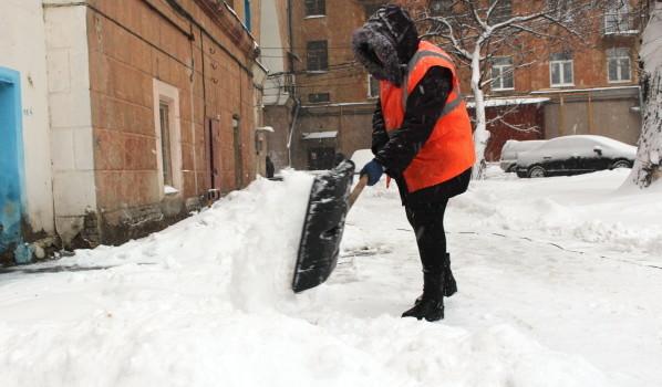 Как в снегопад расчищают дворы Воронежа.