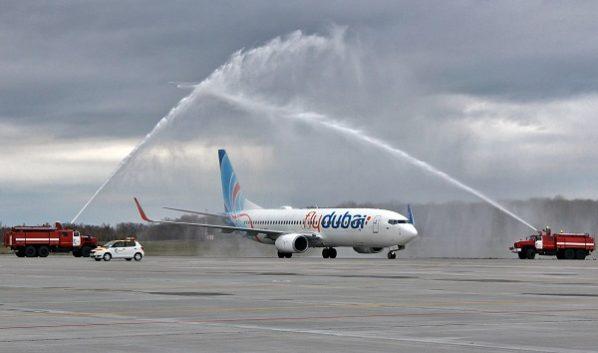 Первый рейс встретили в аэропорту.