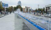 Запустили фонтан на Советской площади.