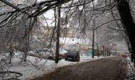 Деревья падают от веса снега на провода.