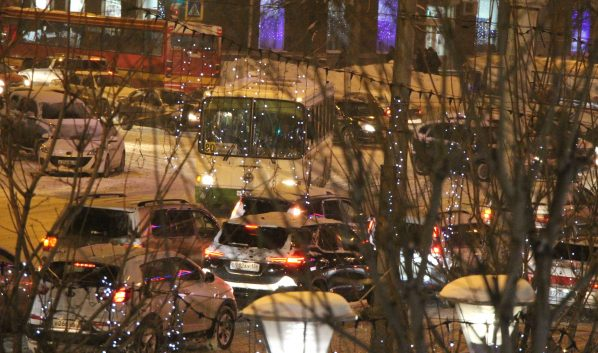Пробки вечером в Воронеже.