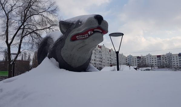 Сугробы в Воронеже.