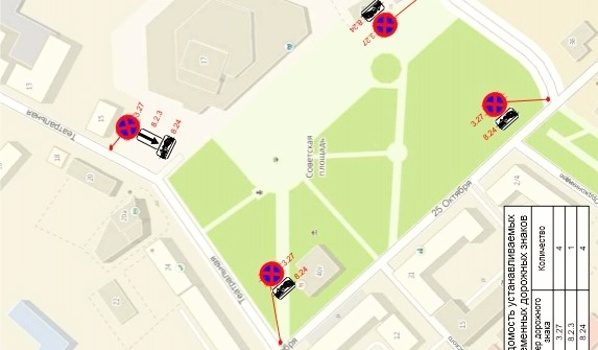 Запретят парковаться вокруг Советской площади.