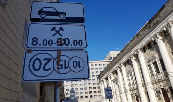 Знак платной парковки в Воронеже.