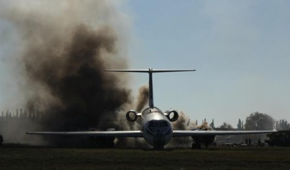 Учения по тушению самолета.