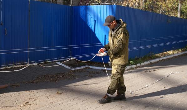 Монтаж подсветки на телевизионной башне в Воронеже.