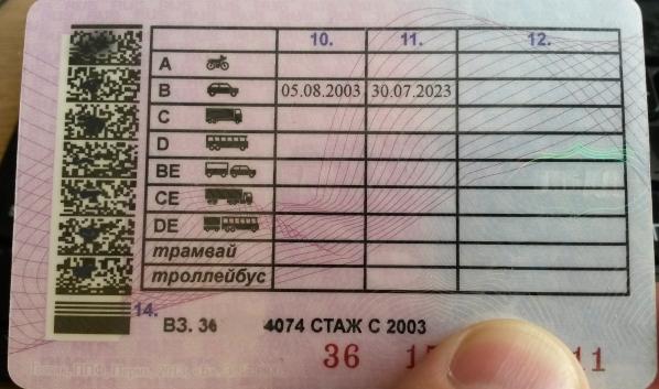 Водительское удостоверение.