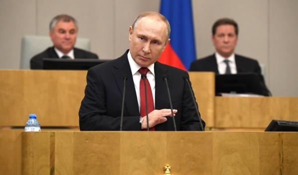 Владимир Путин на пленарном заседании Государственной Думы.