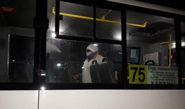 Как в Воронеже проводят дезинфекцию автобусов.