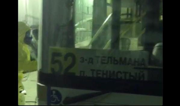 Дезинфекция автобуса.