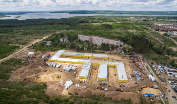 Строительство новой быстровозводимой больницы в Воронеже.