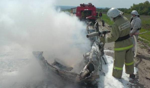 Машина сгорела.