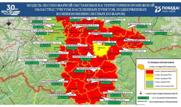 Карта пожароопасности в Воронежской области.