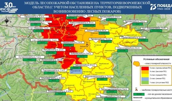 Лесопожарная обстановка (по данным Воронежского ЦГМС).