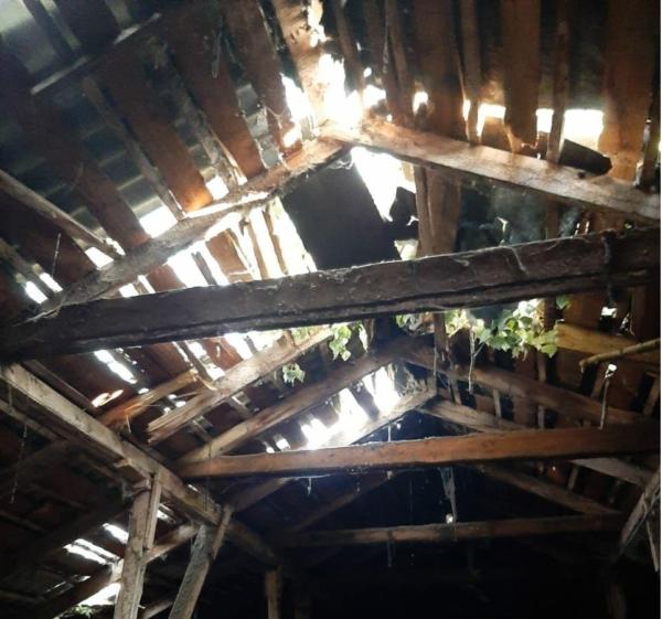 Тополь упал на крышу дома.