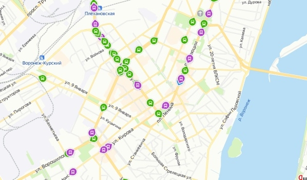 По карте можно отследить транспорт.