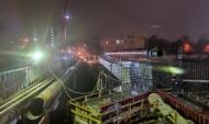 Работы на путепроводе по улице Ленина.
