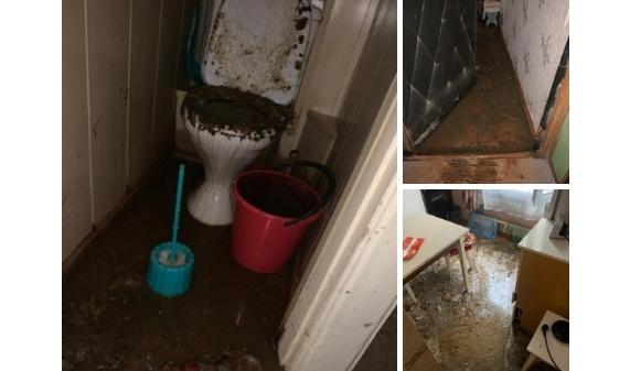Квартиру затопило нечистотами.