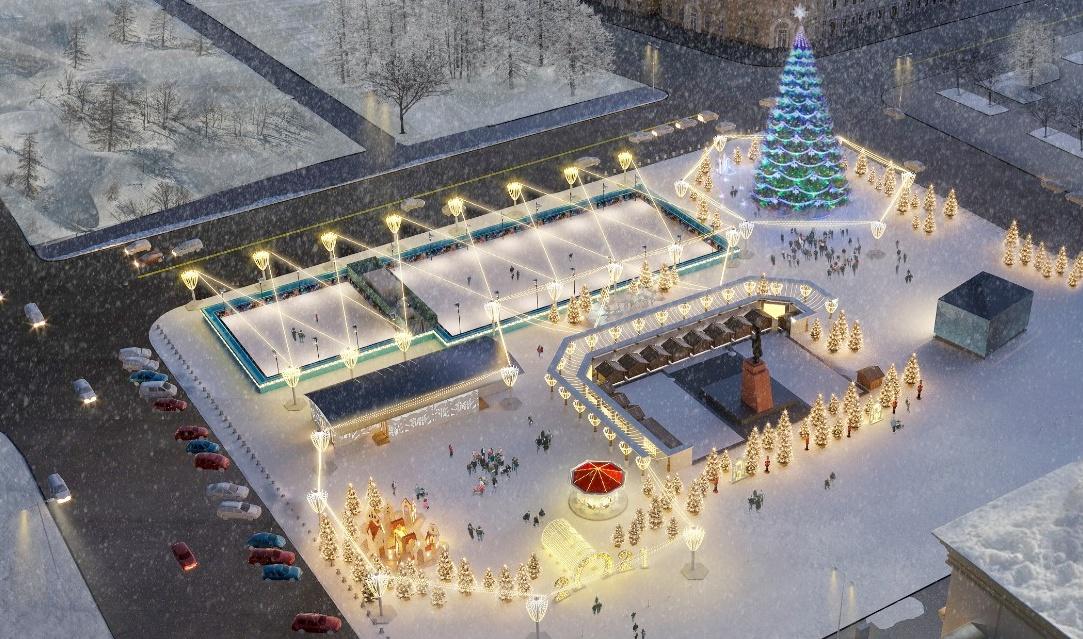 Кликните, чтобы узнать об обновленной концепции праздничного оформления площади Ленина.