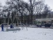 Зимний фонтан в Кольцовском сквере.