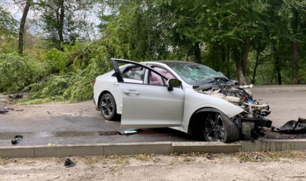KIA K5 протаранила дерево.