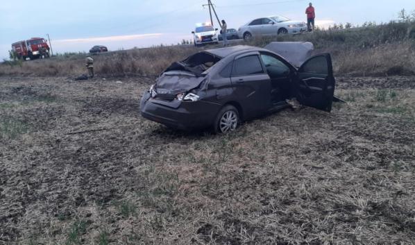 Автомобиль опрокинулся.
