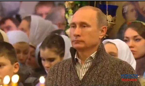 Путин встречает Рождество в храме под Воронежем